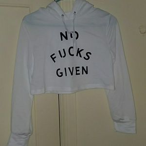 """Sweaters - Cropped """"no fucks given"""" Hoodie"""